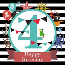 <b>Laeacco Pirate</b> Happy Baby 4th Birthday Party Black White <b>Stripes</b> ...
