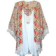 Women's Vintage Loose <b>Blouse</b> Summer <b>Boho</b> Chiffon Coat Shawl ...