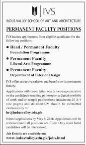 jobs in indus valley school of art and architecture apply till  jobs in indus valley school of art and architecture apply till 9 2016