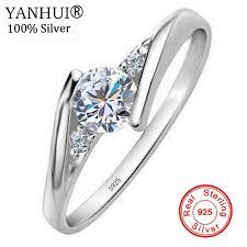 <b>YANHUI</b> 100% <b>Original Solid 925</b> Silver Rings Bijoux 0.5 Carat ...