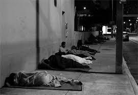 Homeless veterans sleeping on street