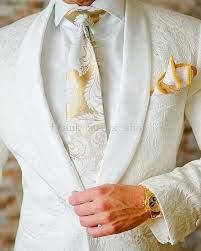 <b>New Arrival Mens Suits</b> Ivory 2018 jacquard Groom Tuxedos Shawl ...