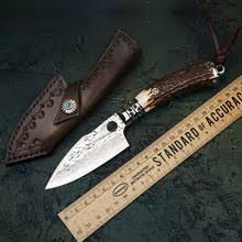 <b>Нож с фиксированным</b> лезвием TUREN-Дамасская сталь Рога ...