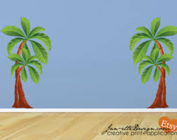 palm tree wall stickers: kids palm tree wall decals large removable and reposotionable fabric wall stickers