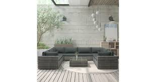 <b>9 Piece Garden</b> Lounge Set with Cushions Poly Rattan Grey - Matt ...
