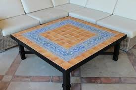Outdoor coffee table - <b>mosaic table</b> - hiedra swirls - square coffee table