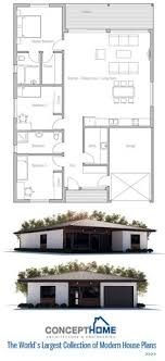 Small House Plan   two bedrooms  Open planning  big windows    House Plan from ConceptHome com