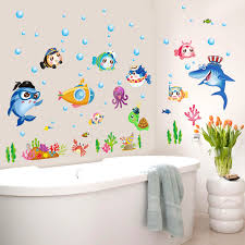 Zs Sticker 42 x 140 cm <b>cartoon fish wall stickers</b> bathroom home ...