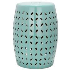 patio stool: safavieh lattice petal robins egg blue ceramic patio stool acsc the home depot