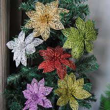 <b>5Pcs Glitter</b> Hollow <b>Artificial</b> Christmas Flower Ornament Xmas Tree ...