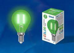 <b>Лампа</b> светодиодная <b>Uniel LED</b>-<b>G45</b>-<b>5W</b>/RED/<b>E27</b> GLA02RD картон