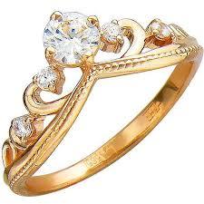 <b>Кольцо Корона с фианитами</b> из красного золота (арт. ж-8433к ...