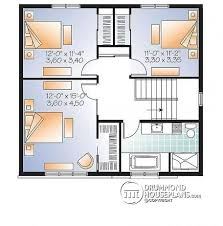 House plan W detail from DrummondHousePlans com    nd level bedroom small modern house plan  open floor concept   three sided fireplace