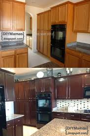 room makeover brown wood varnish diy mamas kitchen makeover gel stain backsplash hardware apron