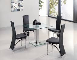 room modern camille glass: image  modern dining table with square clear glass top together chrome base design and also contemporary black leather dining chair