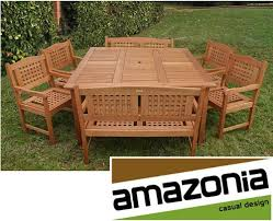 Elegant Brazilian Eucalyptus <b>9 piece Outdoor</b> Patio Dining Set ...