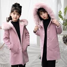 Chidren Winter Warm Woolen Outwear Girls Korean <b>FauxFur Collar</b> ...