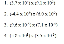 Operations with Scientific Notation Worksheet (pdf) and Answer Keyproblem1