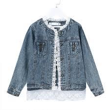 Girls Jean Jackets Kids Lace Coat Long Sleeve Button Denim ...