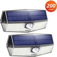 200 LED Solar Lights Outdoor, <b>LITOM</b> Motion Sensor Security Light ...