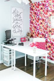 one room challenge office reveal from amber oliver bright color feminine office brightly colored offices central st