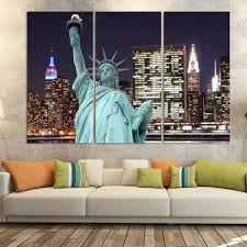 liberty bedroom wall mural:  panels printed city painting on canvas the statue of liberty night scene room decoration print