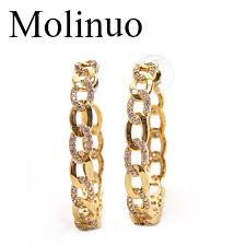 2019 <b>Molinuo</b> 42 45mm Popular Hoop Earrings With CZ Link Chain ...
