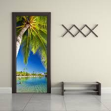 palm tree wall stickers: funlife palm tree waterproof door sticker living room bathroom wall paper self adhesive imitation d