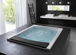 modern black hot tub deck ideas that can add the elegant nuance inside can add the beauty inside the modern house design with grey floor it has glasses bathroom incredible white bathroom interior nuance