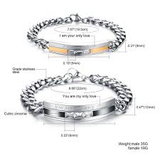 His & Her <b>Fashion</b> Stainless Steel <b>Couple</b> Matching Bracelets ...