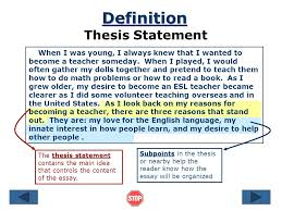 the thesis statement a road map for your essay references essay    definition thesis statement a thesis statement is a complete sentence that contains one main idea