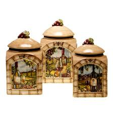 Green Kitchen Canister Set Certified International Tuscan View 3 Piece Canister Set Reviews