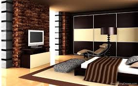 trendy bedroom decorating ideas home design: enchanting interior bedroom decorations stripped bed cover textured accent wall shiny cream flooring dark finished