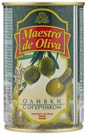 <b>Maestro De Oliva Оливки</b> с огурчиком в масле, жестяная банка 300 г