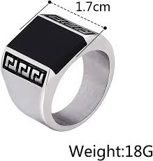 Aooaz Mens Stainless Steel Ring Gold Plated Black <b>Square Stone</b> ...