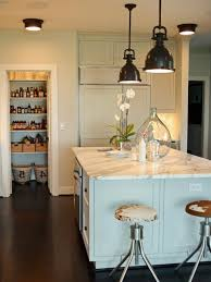marvellous art deco black shaded pendant lamps over light blue wooden kitchen island with smoky white art deco kitchen lighting