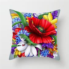 <b>Fuwatacchi</b> Flower Print <b>Cushion</b> Cover Sunflower Rose Dandelion ...