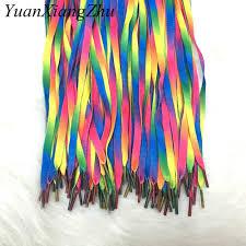 <b>1Pair Colorful</b> Laces Rainbow Gradient Print Flat Canvas Shoe Lace ...