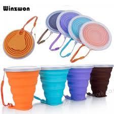 4 Colors <b>250ML</b> Silicone Travel <b>Cup</b> Retractable Folding <b>Coffee</b> ...