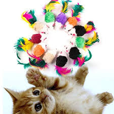 Sunwords <b>10Pcs</b>/<b>Lot</b> Furry Kitten Mice Cat Toys with Feathers and Fur