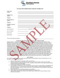 sheffield metals limited weathertight warranties sheffield metals 35 year weathertight limited warranty sample 1