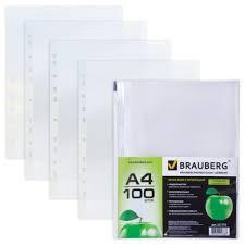 <b>BRAUBERG Папка</b>-файл перфорированная Яблоко, <b>А4</b>, 100 шт.