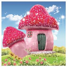 Colored Mushroom Hut <b>Diamond</b> Embroidery Kit <b>50x50cm</b> Paste <b>Diy</b> ...