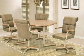 casual dining chairs with casters: image of black leather dining chairs with casters