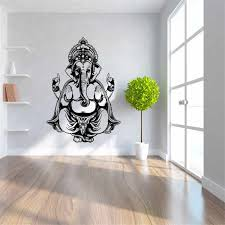 <b>New</b> Ganesha Elephant Buddha Mandala <b>Yoga Wall</b> Stickers DIY ...