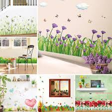 3D Creative Wall Stickers Corner Line <b>Flower Baseboard Green</b> ...