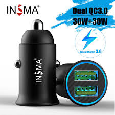 INSMA 60w Dual USB <b>Quick</b> Charge <b>QC3</b>.<b>0 Car Charger</b> For iPhone ...
