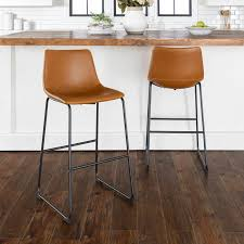 Whiskey Brown Faux Leather <b>Bar Stools</b> Set of <b>2</b> in 2020 | Leather ...