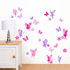 Small Picture Purple Pink Fairies Flowers Butterflies Girls Printed Wall