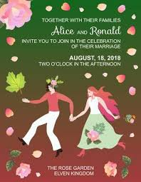 Wedding Invitation With <b>Fairy Elf</b> Couple In Frame Of <b>Rose Flowers</b> ...
